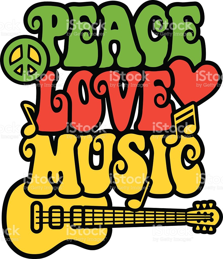 Peace, love and music written in 60u0027s style font with guitar royalty-free  peace