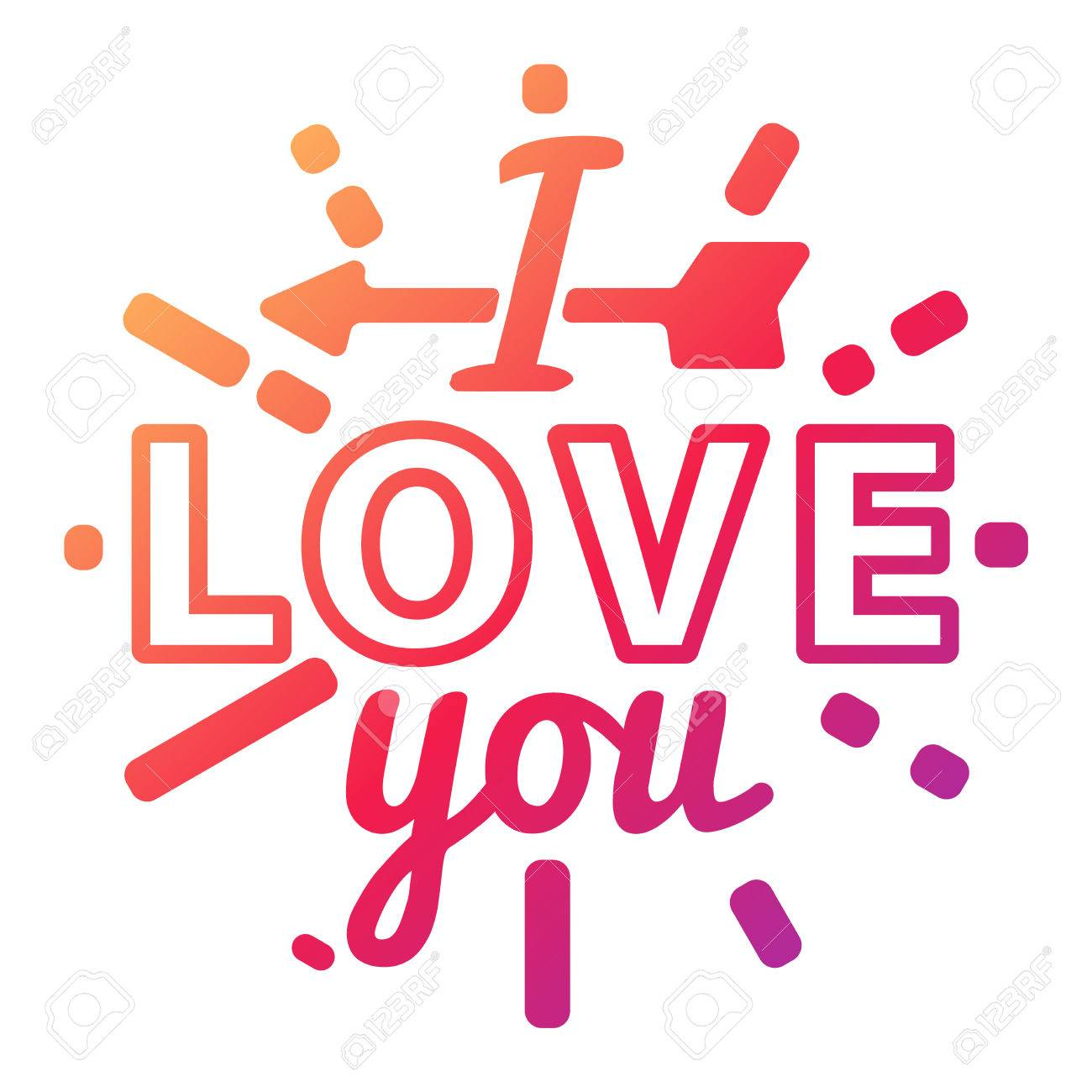 Stok Fotoğraf - Vector I love You photo badges modern lettering insignia,  inspirational text. Lovely text I love You follow your heart romantic type.