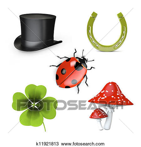 3d collection of good luck symbols isolated on white