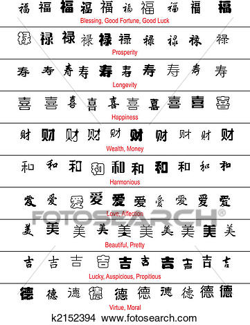 Clipart - vector chinese lucky symbols with english translation. Fotosearch  - Search Clip Art,