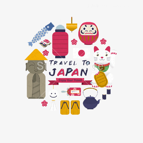 cute japanese cultural symbols set in flat style, Carp, Lucky Cat, Lantern  PNG