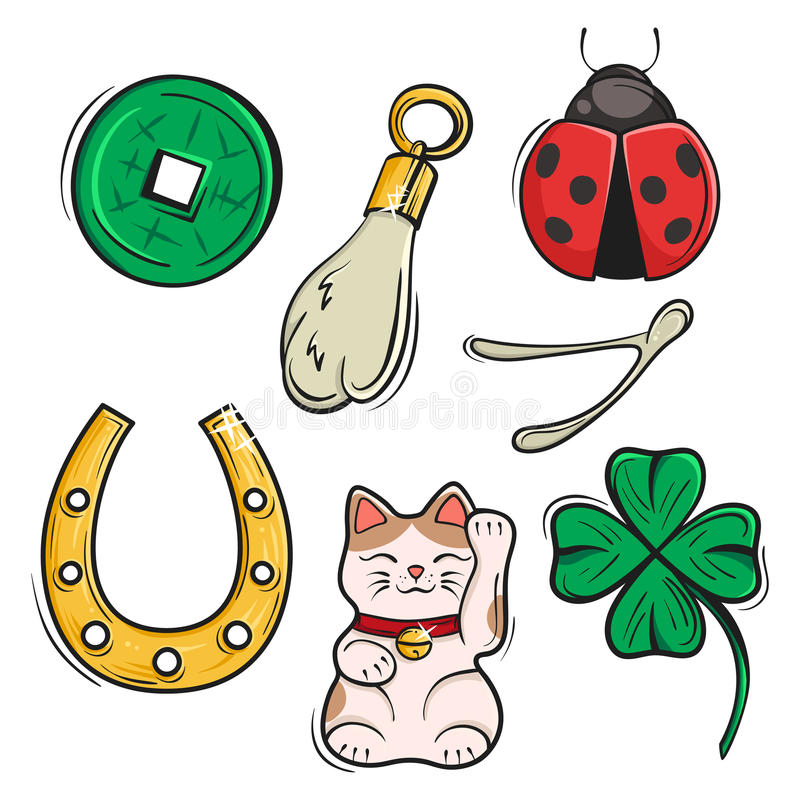 Download Vector Set Of Lucky Charms, Symbols And Talismans. Stock Vector -  Illustration of