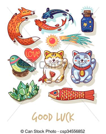 Good Luck. Lucky amulets and happy symbols collection - csp34556852