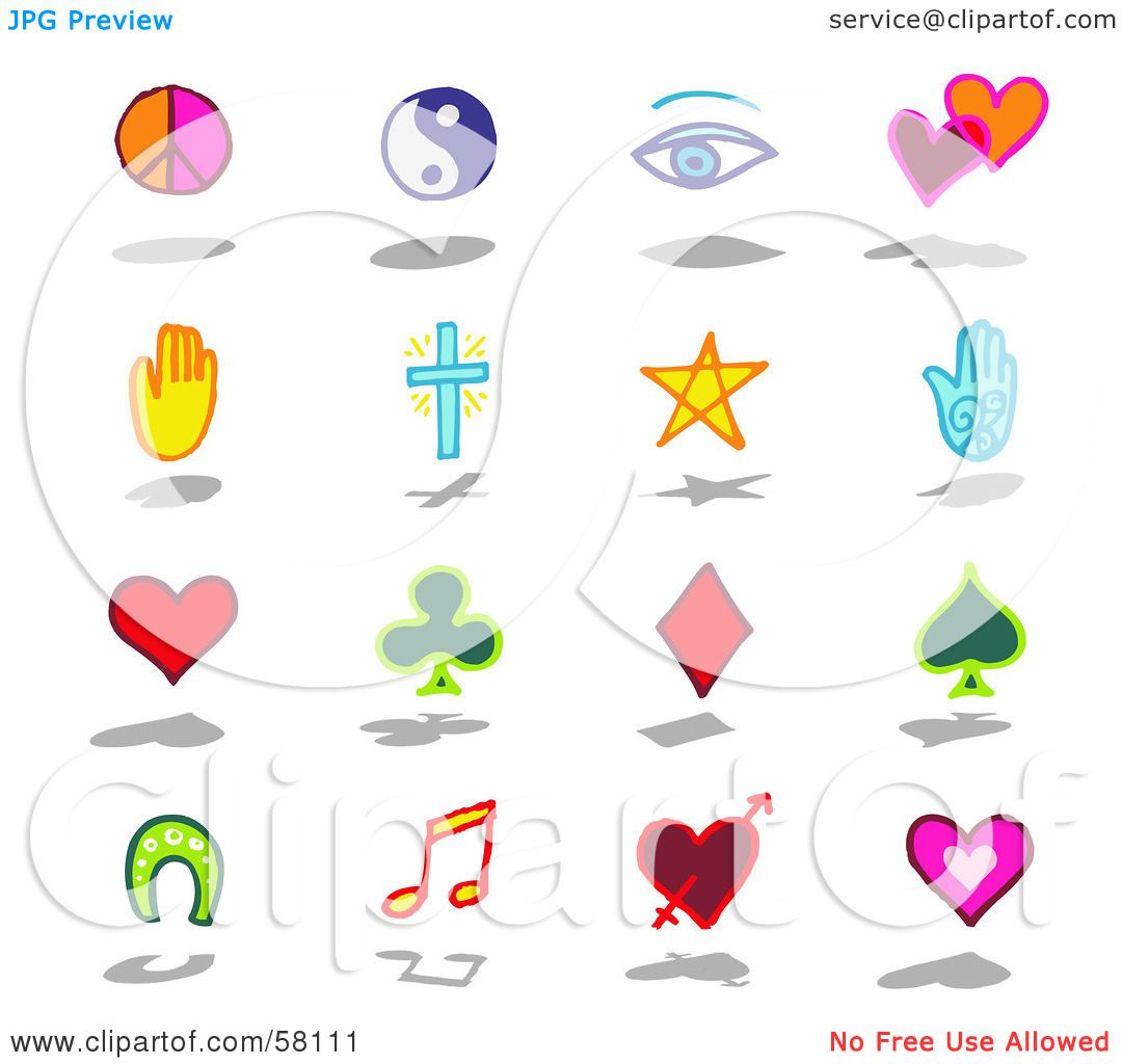 Royalty-Free (RF) Clipart Illustration o-Royalty-Free (RF) Clipart Illustration of a Digital Collage Of Lucky,  Religion And Peace Symbols by NL shop-13