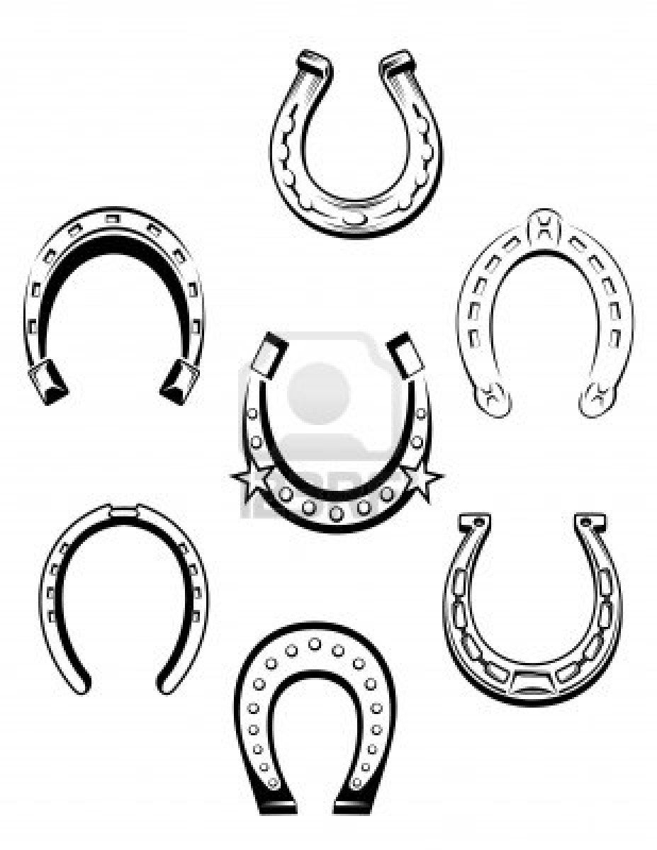 Set of horseshoe icons and symbols for lucky concept design