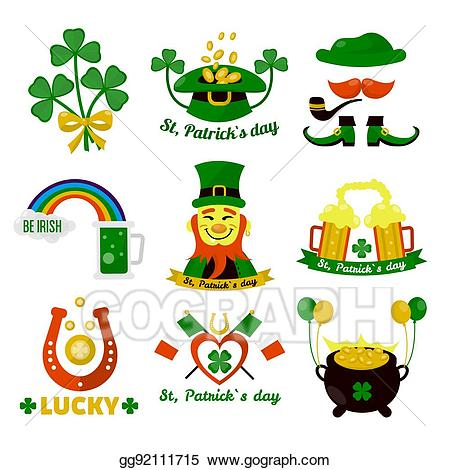 Symbols of Ireland flag and horseshoe luck
