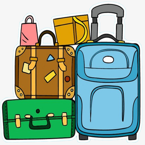 Hand-painted Luggage, Heavy Suitcase, Dr-hand-painted luggage, Heavy Suitcase, Drag The Luggage, Trunk PNG Image and-4
