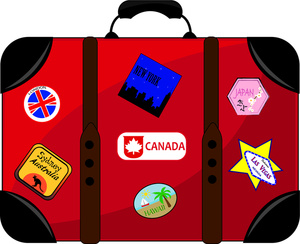 Luggage Clipart Image: Clip Art Illustra-Luggage Clipart Image: Clip Art Illustration Of Red And Black Luggage With  A Variety Of-9