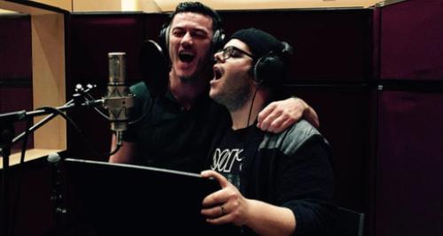 Luke Evans and Josh Gad recording songs -Luke Evans and Josh Gad recording songs fro beauty. u0027-18