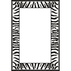 Lyndhurst Collection Zebra Border Black/ White Rug (6u0026#39; x 9 .
