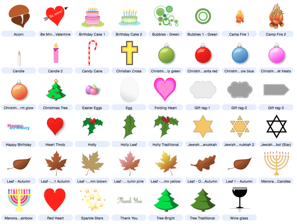 Valentineu0027s Day, Easter, Hanukkah, Christmas, birthdays and more. Free  vector clip art included with Artboard drawing software for Mac OS X