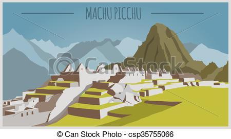 City buildings graphic template. Peru. M-City buildings graphic template. Peru. Machu Picchu - csp35755066-4