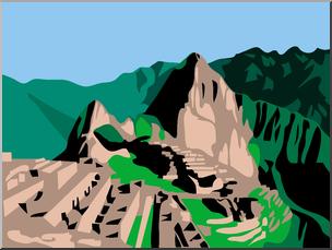 Clip Art: Machu Picchu Color I abcteach clipartlook.com - preview 1