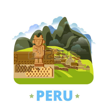 Peru country design template. Flat cartoon style historic sight showplace  web site vector illustration.