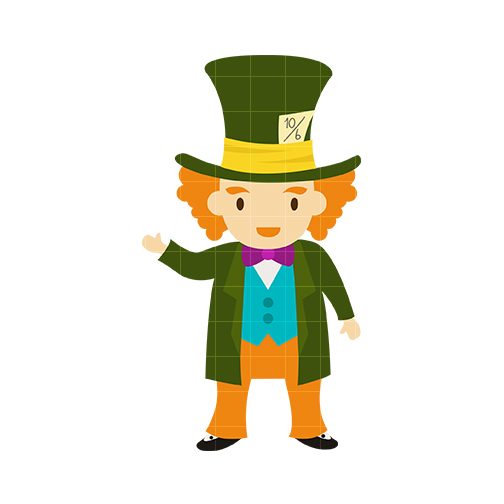 Mad Hatter Clip Art - Quarter .