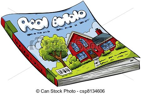 Magazine - A cartoon real estate magazine with house on the.