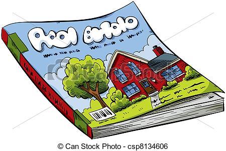 Magazine - A Cartoon Real Estate Magazin-Magazine - A cartoon real estate magazine with house on the.-9