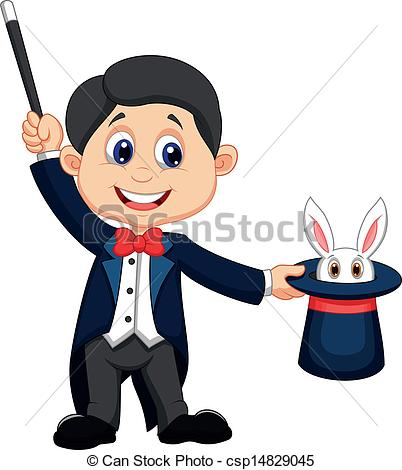 ... Magician Pulling Out A Rabbit From --... Magician pulling out a rabbit from - Vector illustration of.-16