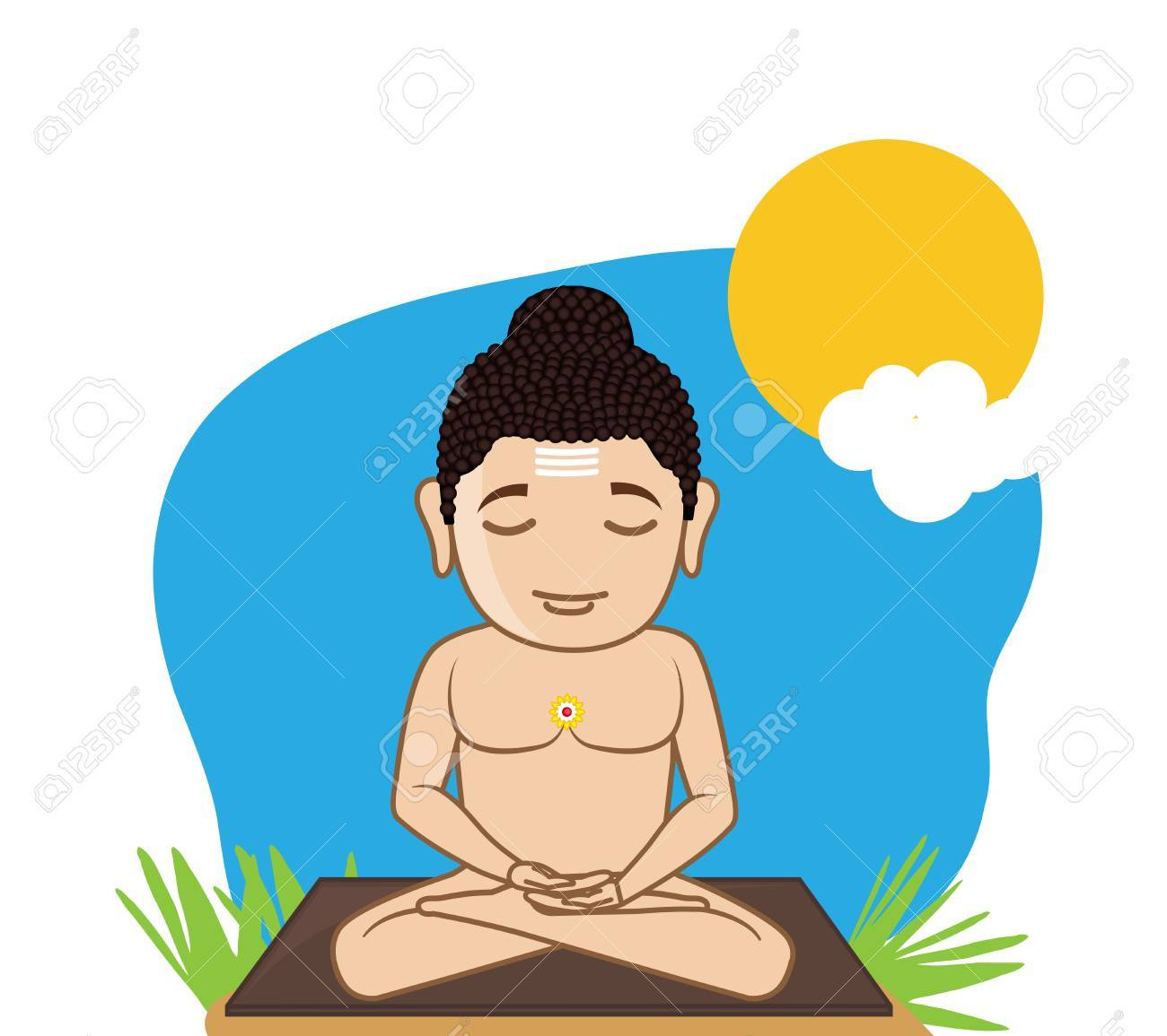 Lord Mahavira Concentrating Stock Vector-Lord Mahavira Concentrating Stock Vector - 41847400-11
