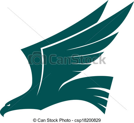 ... Majestic flying falcon bird with raised wings in profile,.