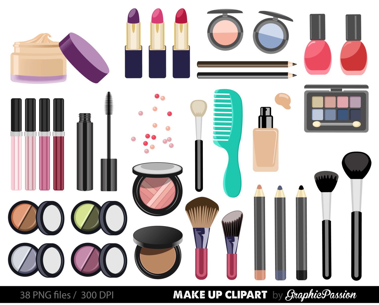Make up Collection Digital Clipart Beauty Clipart Cosmetic clipart Nail polish clipart Girly Clipart Make up clip art INSTANT DOWNLOAD
