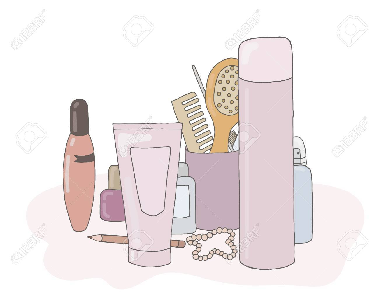 A set of cosmetic products vector with makeup kit collection Stock Vector -  75145472