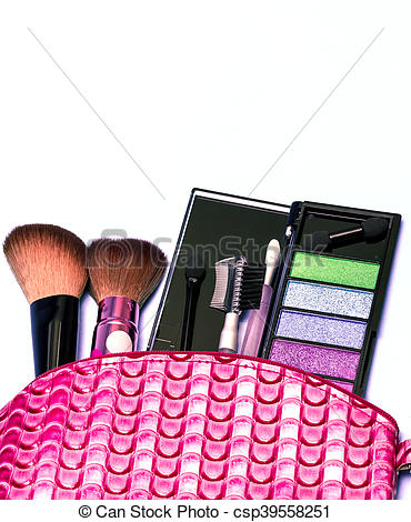 Cosmetic Makeup Kit Indicates Beauty Products And Blank - csp39558251