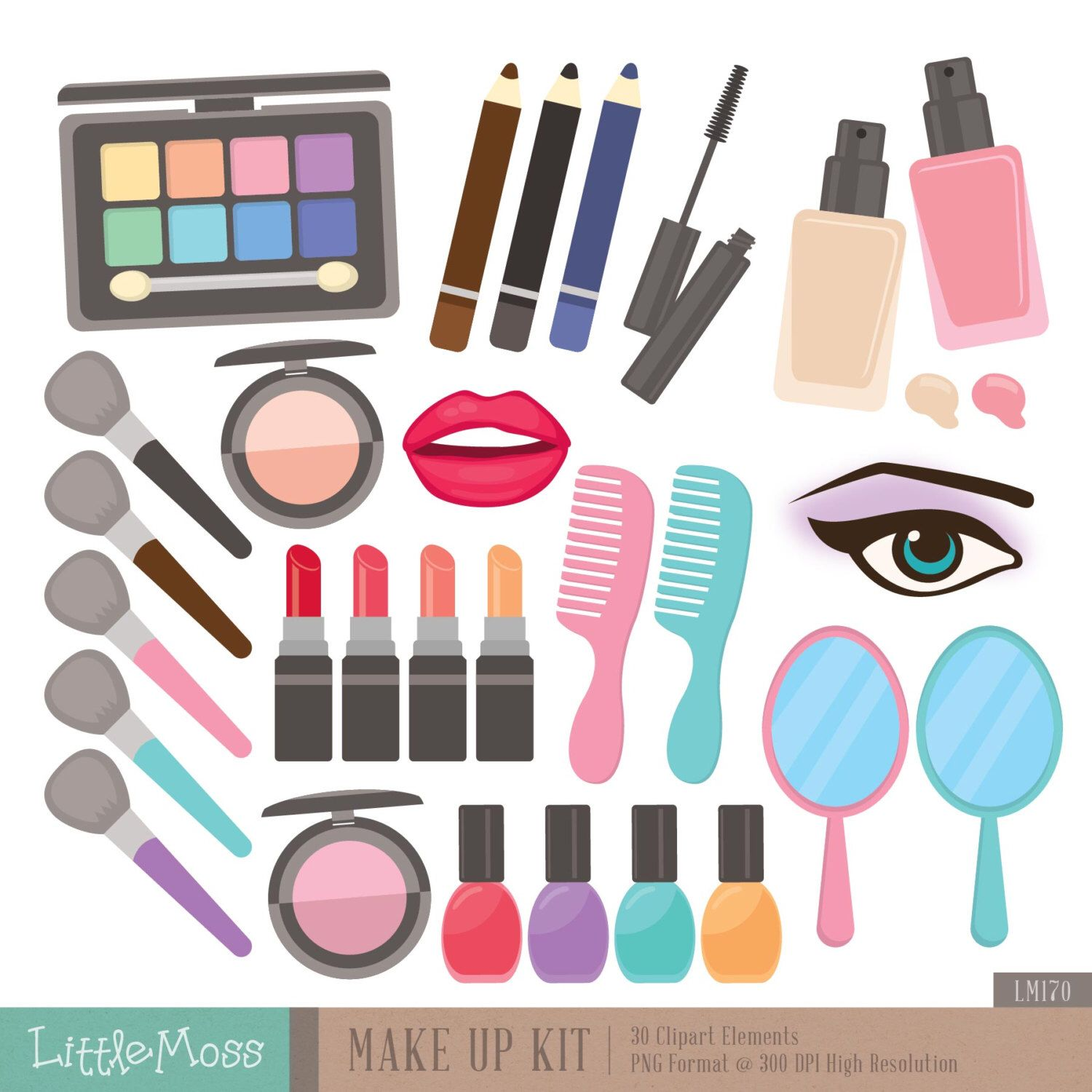 Make Up Kit Digital Clipart, Cosmetic Clipart