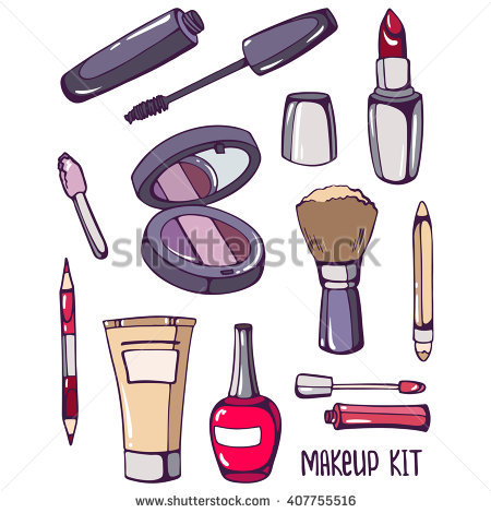 Makeup kit: mascara, nail polish, foundation, mirror, lipstick, brush,