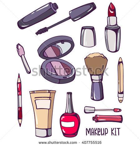 Makeup Kit: Mascara, Nail Polish, Founda-Makeup kit: mascara, nail polish, foundation, mirror, lipstick, brush,-10