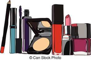 . ClipartLook.com set of cosmetics - lipstick, lip gloss, powder, ClipartLook.com