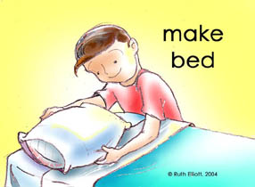 Young Boy Making Bed