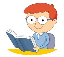 Male Student Wearing Glasses Reading Book Clipart Size: 108 Kb