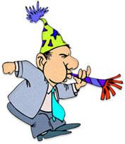 man celebrating the new year