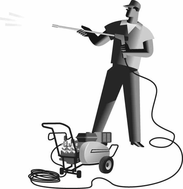Man Power Washing Clipart