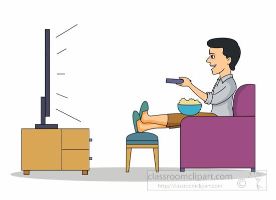 Man Relaxing Watching Tv Clipart 6212 Classroom Clipart