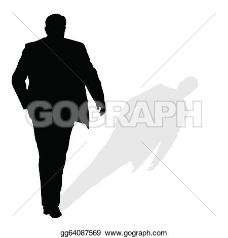 ... man walking silhouette art vector with shadow