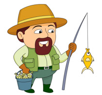Man Wearing Fishing Vest With Fishing Pole Bucket Fish Clipart Size: 104 Kb