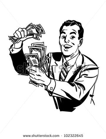 Man With Cash - Retro Clipart Illustrati-Man With Cash - Retro Clipart Illustration-5