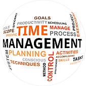 Management concept with clock u0026middot; word cloud - time management