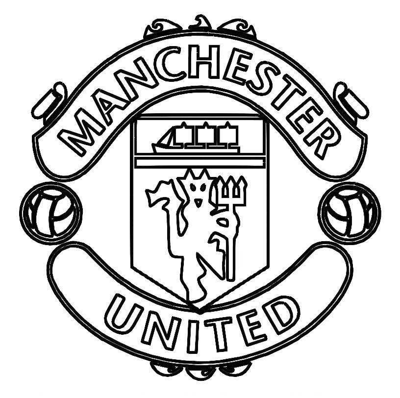 Football Pictures To Colour print manchester united logo soccer coloring  pages or download nfl coloring pages