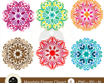 Mandala Flower Clipart,flower pattern clipart,flower clipart,decorative mandala,digital download