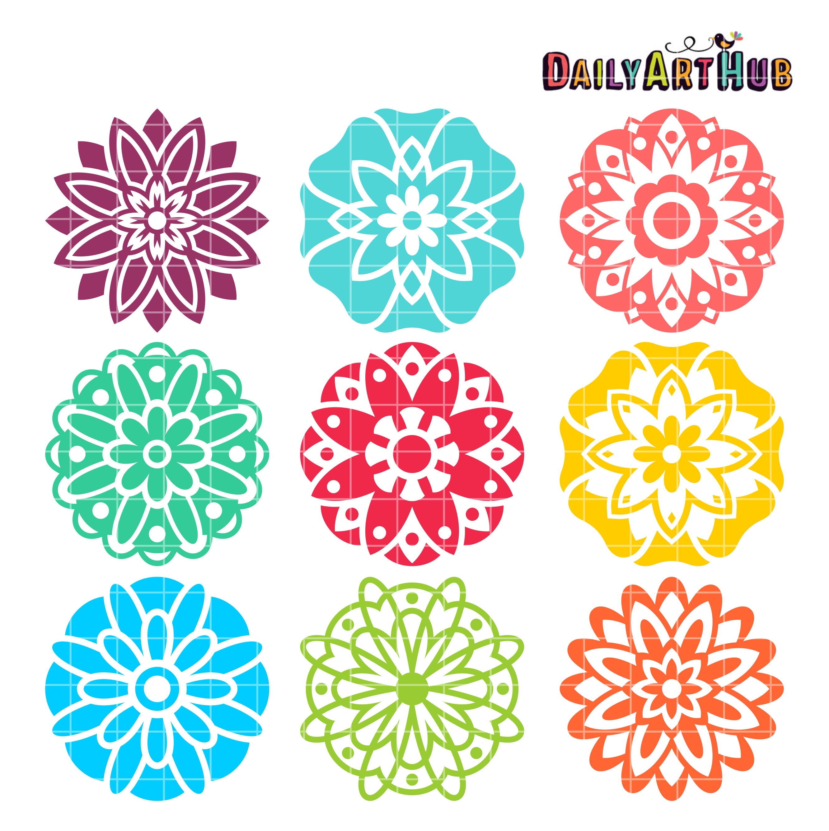 Mandala Flowers Clip Art Set