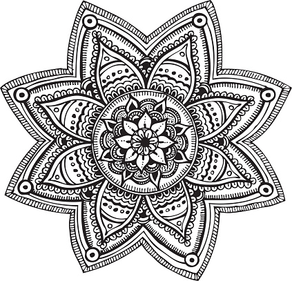 Mandala - hand drawn ornament vector art illustration