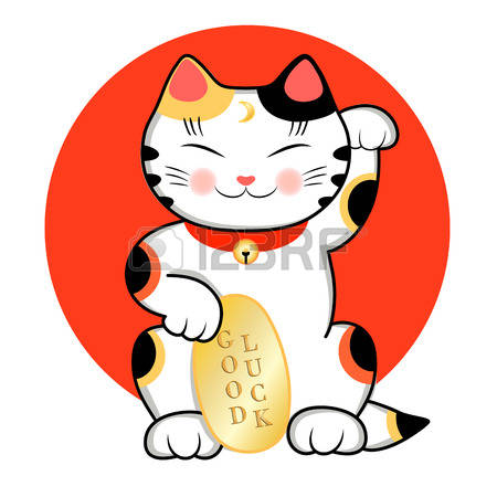 Maneki Neko Cat Is Wishing Good Luck. Ve-Maneki Neko Cat is wishing Good Luck. Vector illustration of a cute  traditional east asian-16