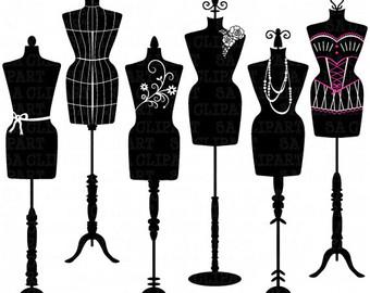 Mannequin Silhouette ClipArt u0026quot;MANNEQUIN SILHOUETTEu0026quot; Fashion,Dress Form ClipArt,Tailoru0026#39;s Dummy,Shabby Chic,Body,Mannequin clipart Ca042