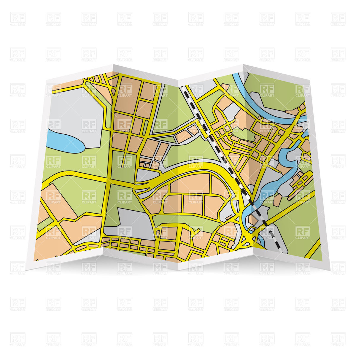 Abstract folded paper city map Royalty Free Vector Clip Art