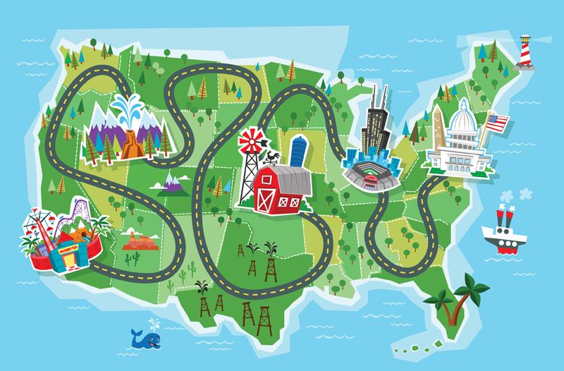 Cartoon Road Map Clipart #1