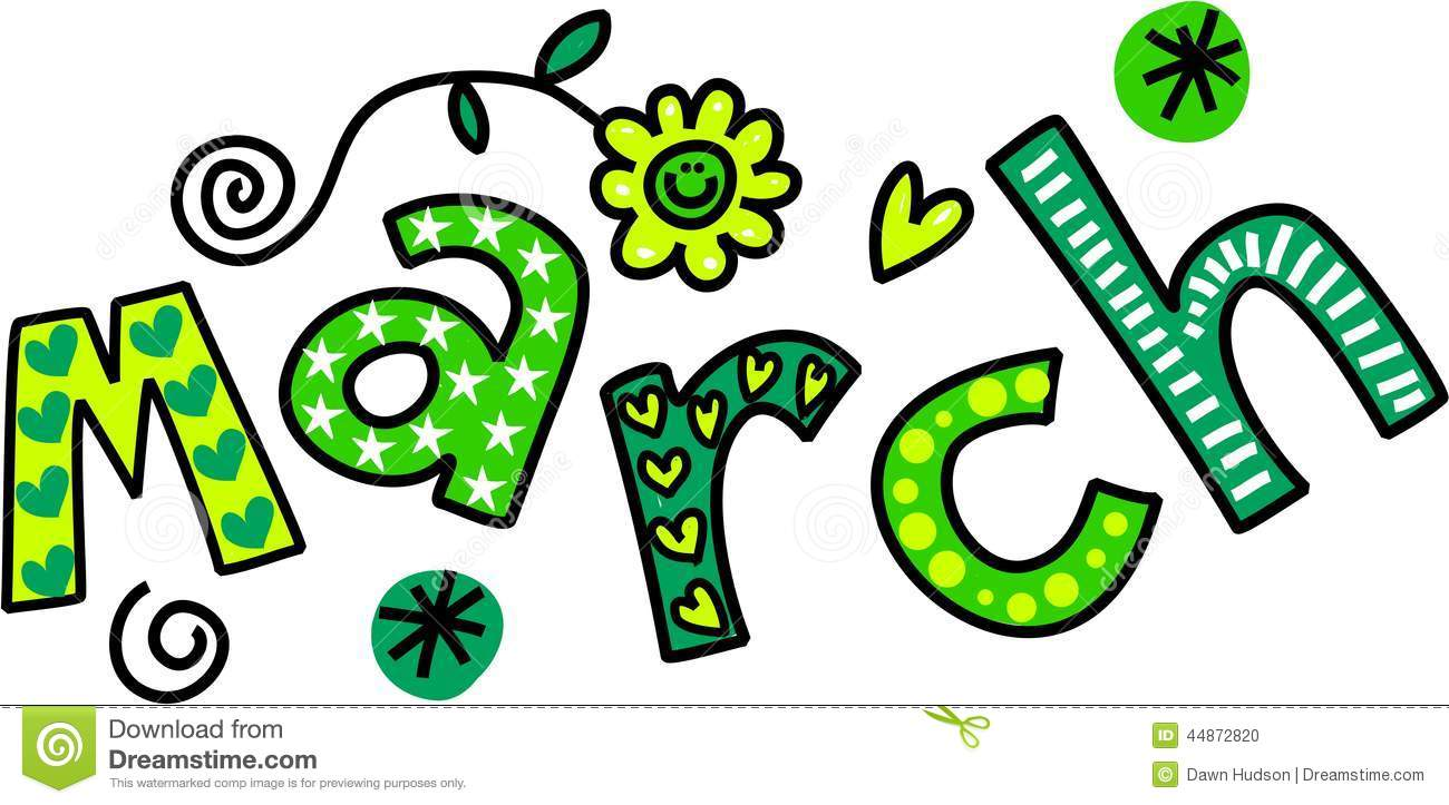 March Clip Art Whimsical Cartoon Text Doodle Month 44872820