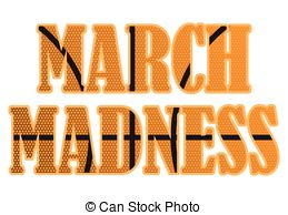 ... March Madness text filled with a basketball pattern.